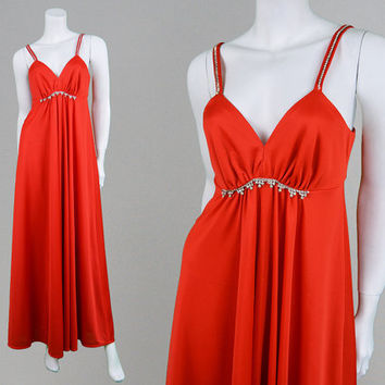 Vintage 70s Maxi Dress Red Maxi Dress Evening Gown Formal Party Dress Studio 54 Long Evening Dress Diamante Trim Sexy Dress Strapless Dress