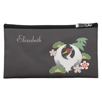 Cute crane with Japanese lucky charms personalized bags for makeup