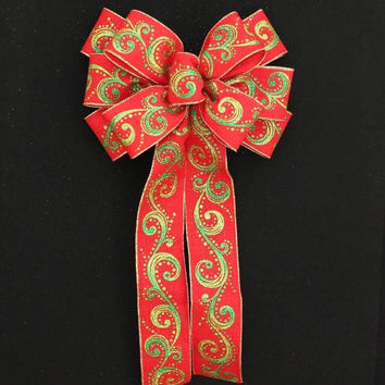Red and Green Swirl Glitter Christmas Bow