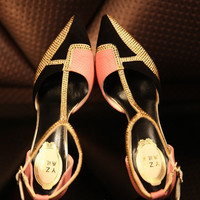 T Strap Crystal Pointed Toe Heels Stiletto