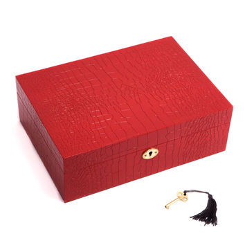 """Secure Red """"Croco"""" Design Wood Jewelry Box with Valet Tray"""