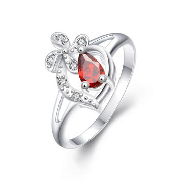 Diamond Shaped Ruby Clover Stud Classic Ring