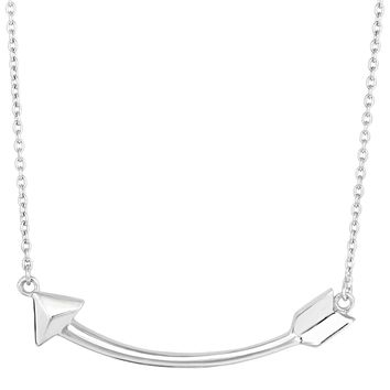 Sterling Silver Sideways Curved Arrow Necklace, 18""