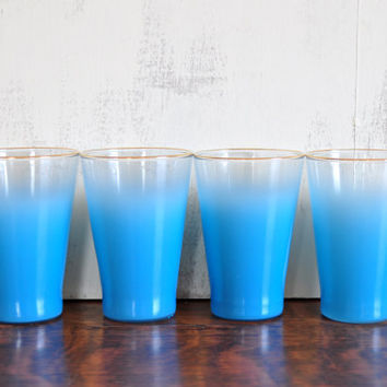 Set of Four Vintage Blendo Juice Glasses, Blue and Clear Ombre with Gold Rim