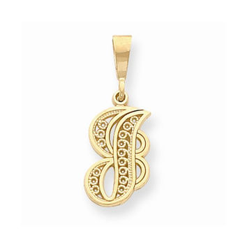 14k Yellow Gold Solid Filgree Initial Charm J
