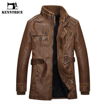 Autumn Winter Men's Leather Trench Coat Long Double Breasted Sheepskin Fur Coat Leather Jacket Men