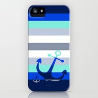 Navy Anchors: Beneath the Sea iPhone & iPod Case by Eileen Paulino
