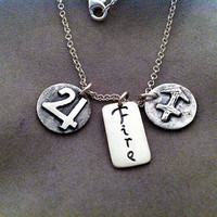 SAGITTARIUS Sign with Element FIRE and Ruling Planet JUPITER. Silver Necklace