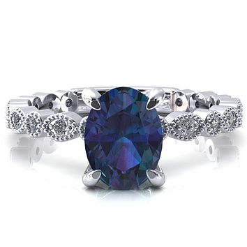 Polaris Oval Alexandrite 4 Claw Prong Diamond Halo Full Eternity Engagement Ring
