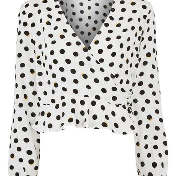 Shadow Spot Print Wrap Blouse