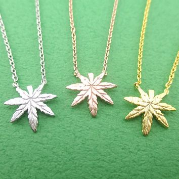 Marijuana Leaf Cannabis Pot Weed Shaped Pendant Necklace