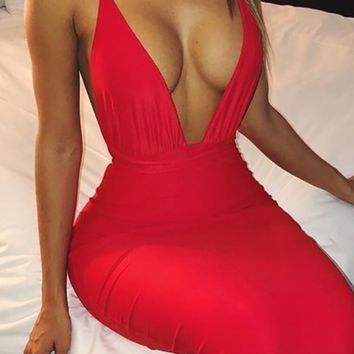 Making A Connection Sleeveless Spaghetti Strap Plunge Deep V Neck Backless Bodycon Maxi Dress