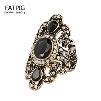 Women Jewelry Bohemian Style Antique Gold Rings for Women Vintage Jewelry Black Red Resin Stone Turkish Ring female Ethnic Rings