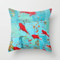 From koi series Throw Pillow by Suzanna Schlemm