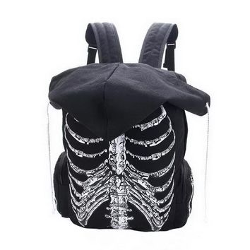 Skull Skeleton Printed Hooded Backpack