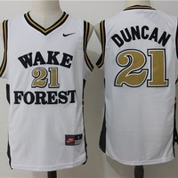 Best Sale Online NCAA University Basketball Jersey Wake Forest Demon Deacons # 21 Tim Duncan White