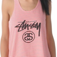 Stussy Girls Stock Link Coral Stripe Racerback Tank Top at Zumiez : PDP