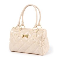 San Antonio Quilted Faux Leather and Sequin Satchel Bag with Metal Bow | Icing