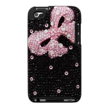 Girly Pink Bow and Black Bling iPod Touch Case from Zazzle.com