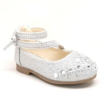 Baby Silver Glitter Shoes with Hook and Loop Strap