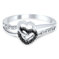 Sterling Silver Black Diamond Double Heart Promise Ring