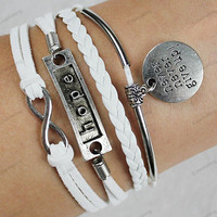 "hope &""never give up""bracelets -siliver bracelets"" bracelets-personalized Mom children gift,friendship gifts family gifts 206"