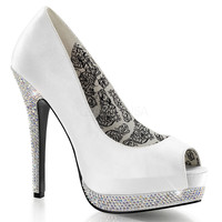 White Satin Rhinestone Bella Peep Toe Pumps