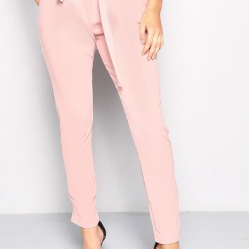 PINK TIE PAPERBAG WAIST TROUSERS