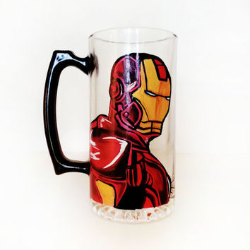 Iron Man  Beer mug - hand painted - very detailed and high quality