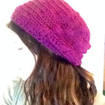 Crochet Slouchy Hat Crochet Beanie Crochet Hat Purple Hat Oversized Hat Womens Hat Purple Beanie