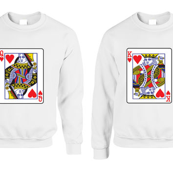 King and Queen matching couples sweatshirt Valentines day
