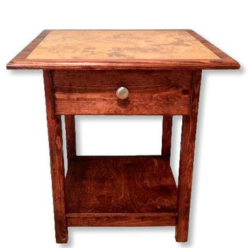 End Table, Side Table with drawer and tile top