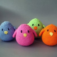Colorful amigurumi birds Bird Gangset of 4 christmas by sabahnur