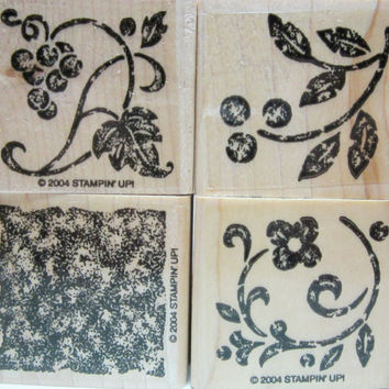 Card Making, Scrapbooking, Rubber Stamp Supplies, Floral Stamps, Unused Stampin' Up Rubber Stamps, Decorative Floral Stamps, Set Of 4,