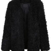 LE3NO Womens Oversized Long Sleeve Faux Fur Coat with Pockets