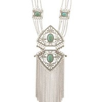 Silver Metal & Turquoise Fringe Statement Necklace by Charlotte Russe