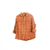 Lived-in Sun Washed Vintage Flannel Shirt |Plaid Grunge| Festival | Boho  |XXL Orange | Brown | | Buy 2 Get 1 Free