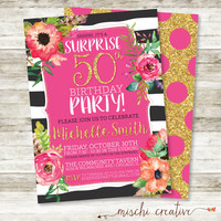 "Surprise 50th Birthday Party Gold, Glittery and Glam Watercolor Flowers DIY Printable Invitation in Pink, Black and White, 5"" x 7"""
