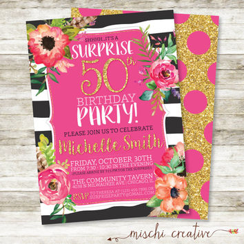 Surprise 50th Birthday Party Gold Glittery And Glam Watercolor
