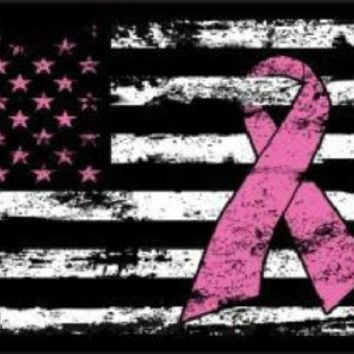 Pink Ribbon Cancer Awareness on American Flag  Car Truck License Plate Tag