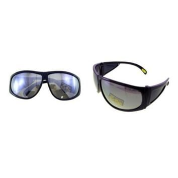Large Frame Sunglasses with Silver Mirrored Lenses
