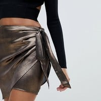 Ivyrevel Satin Wrap Skirt With Ruffle Side at asos.com