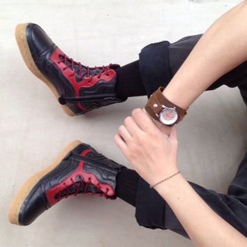 black red leather boots handmade shoes Marapulai Sneakers US 8.5 women / US 7.5 men Merapi