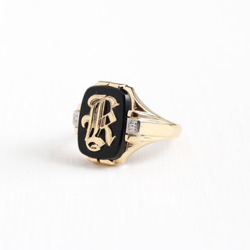 Vintage 10k Rosy Yellow Gold Initial Letter K Signet Diamond Ring - Art Deco 1930s Size 10 1/2 Black Onyx Men's Monogrammed Fine Jewelry