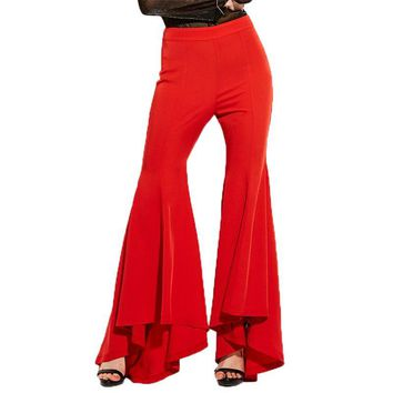 Women Red Elegant Flare Pants Fashion Floor Length Bell bottoms Trousers