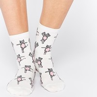 ASOS Ankle Socks With Ballerina Cat