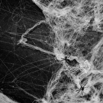 DKF4S New Halloween Scary Party Scene Props White Stretchy Cobweb Spider Web Horror Halloween Decoration For Bar Haunted House