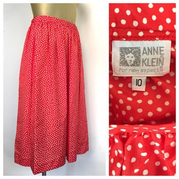 Red Polka Dot 80s Skirt, Vintage Polkadot Skirt, Anne Klein Skirt, Red White Polka Dots, Rockabilly Skirt, Minnie Mouse Vintage Secretary 10