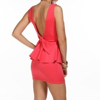 Fuchsia Bow Back Peplum Dress