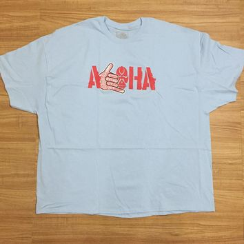 "HIC ""Aloha Throw"" Mens Light Blue T-Shirt"